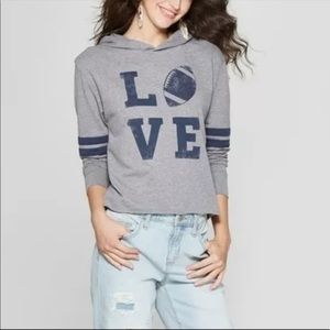 Fifth Sun Grey Football Love Cropped Hooded Top